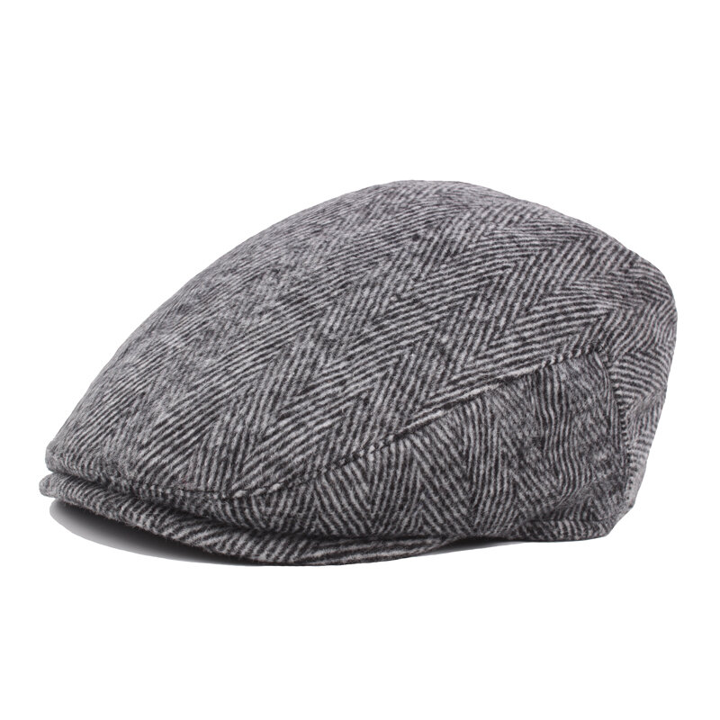 Men Classic Stripe  Beret Cap Retro Hats For The Older Casual Outdoor Warm Windproof Cap