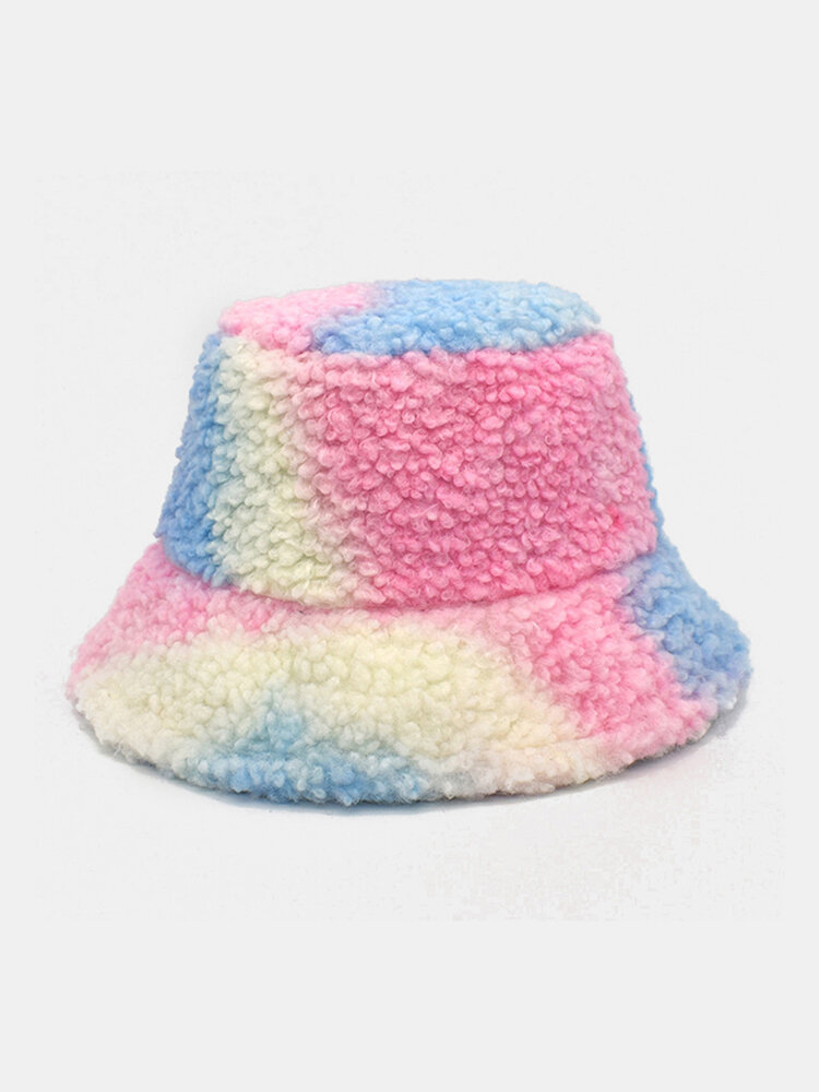 Women Tie-dye Mix Color Lamb Fur Warm Casual Cute Bucket Hat
