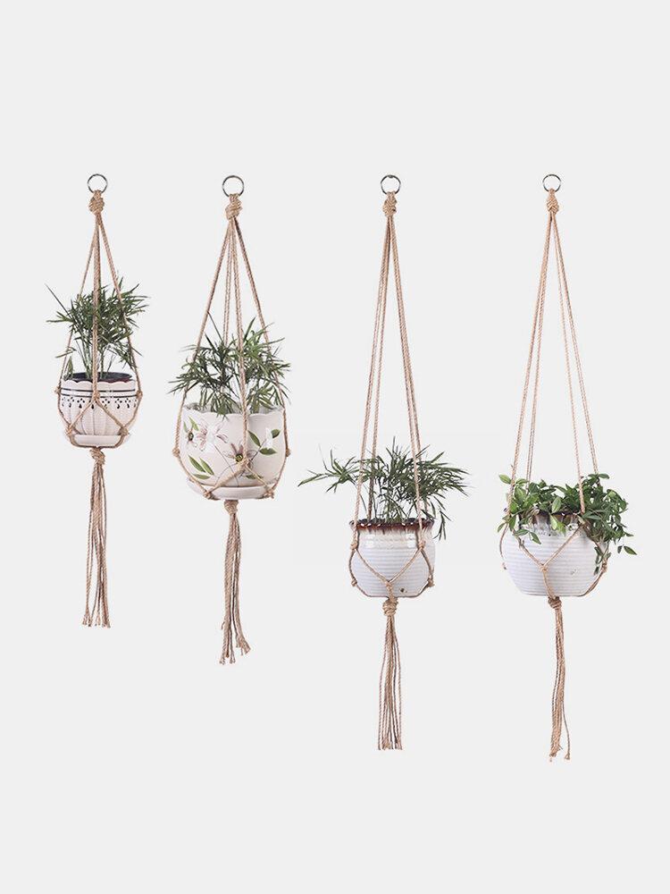 Knotted Macrame Plant Hanger Vintage Cotton Linen Flowerpot Basket Lifting Rope Hanging Garden Tools