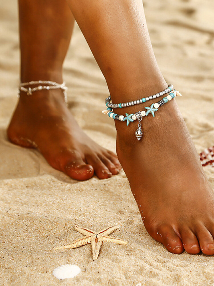 Bohemian Conch Anklet Multi-layer Beads Anklet Silver Pendant Women Anklet