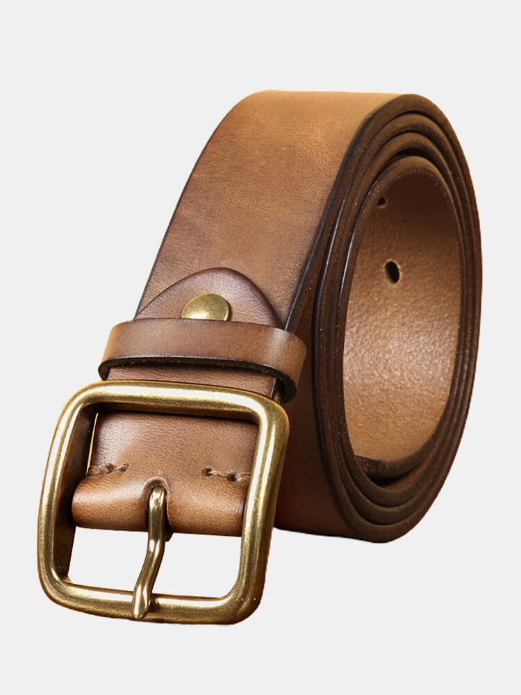Men Genuine Leather Pure Copper Pin Buckle Belt Solid Color Retro Adjustable Belt