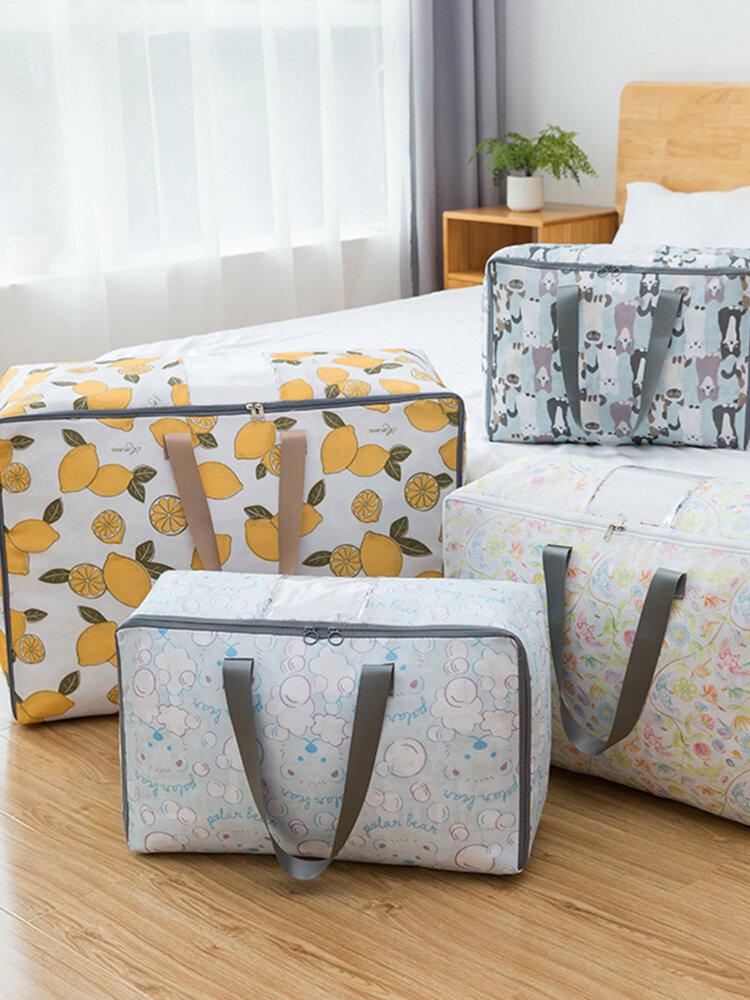 Household Quilt Storage Bag Travel Luggage Bag Oxford Cloth Foldable Transparent Window Quilt Bag