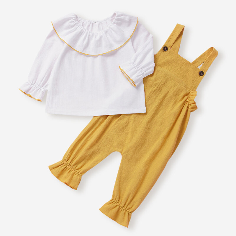 Baby White Tops+Suspender Pants Set For 3-18M