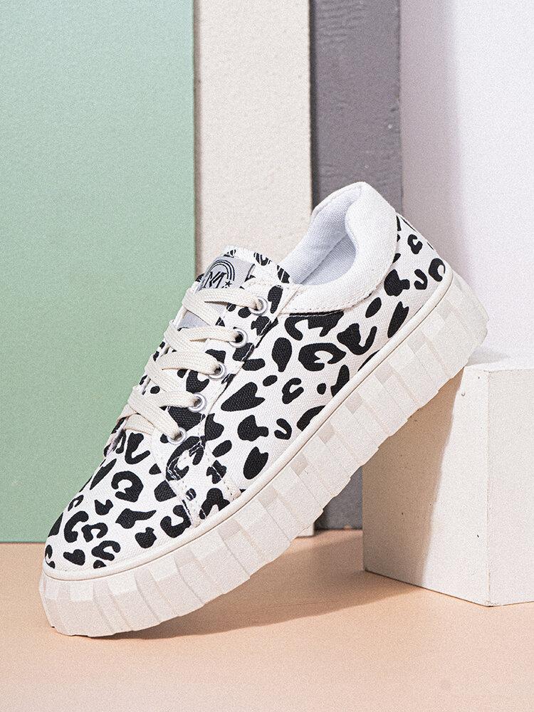 Women Casual Cute Leopard Pattern Antiskid Platform Skate Shoes