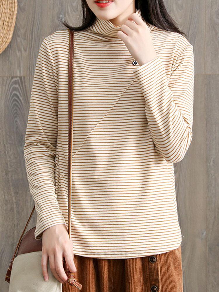 T-shirt femme à manches longues et col montant