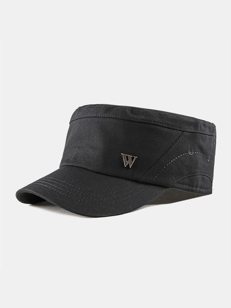 Men Cotton Stitching Letter Metal Label Casual Sunscreen Military Cap Flat Cap