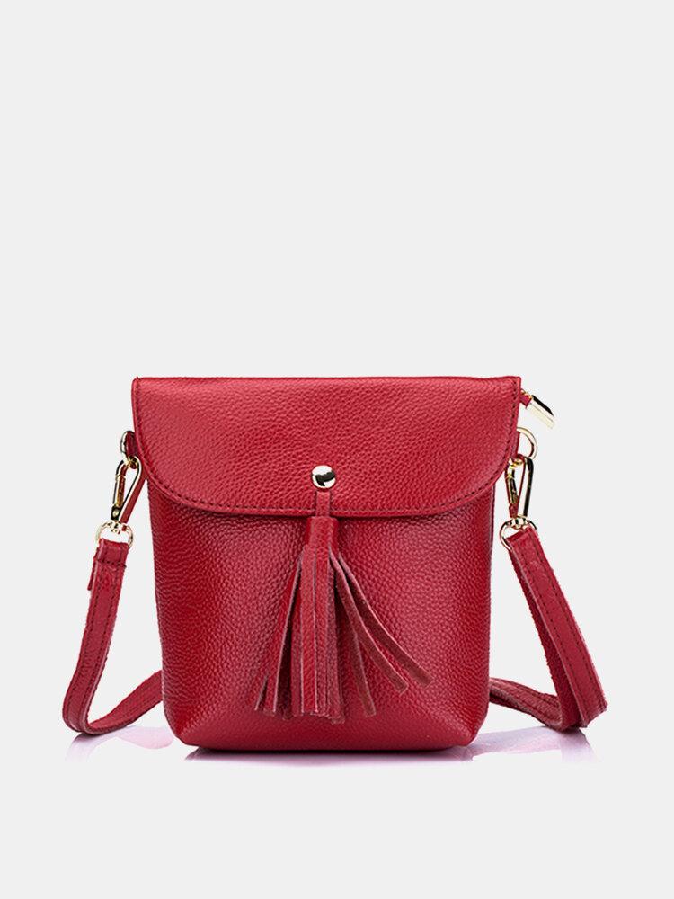 Genuine Leather Tassel Bucket Bag 5.5inch Crossbody Bag