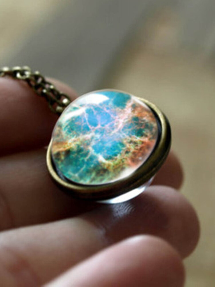 Trendy Geometric Glass Ball Necklace Solar System Universe Starry Pendant Necklace