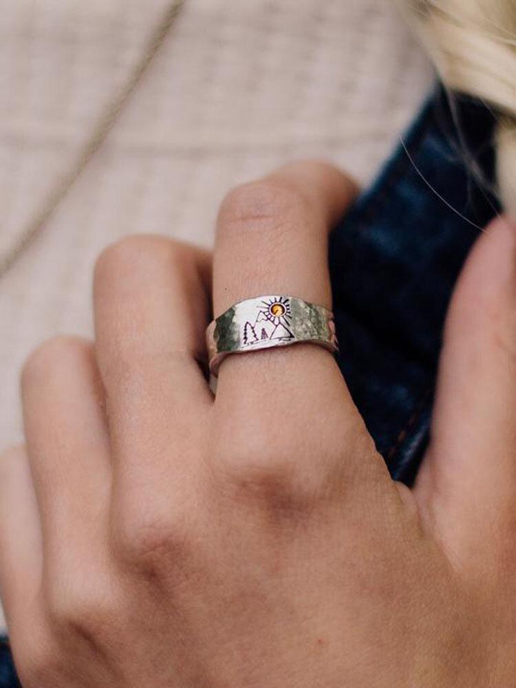 Vintage Sunset Valley Ring Temperament Alloy Champagne Gem Ring