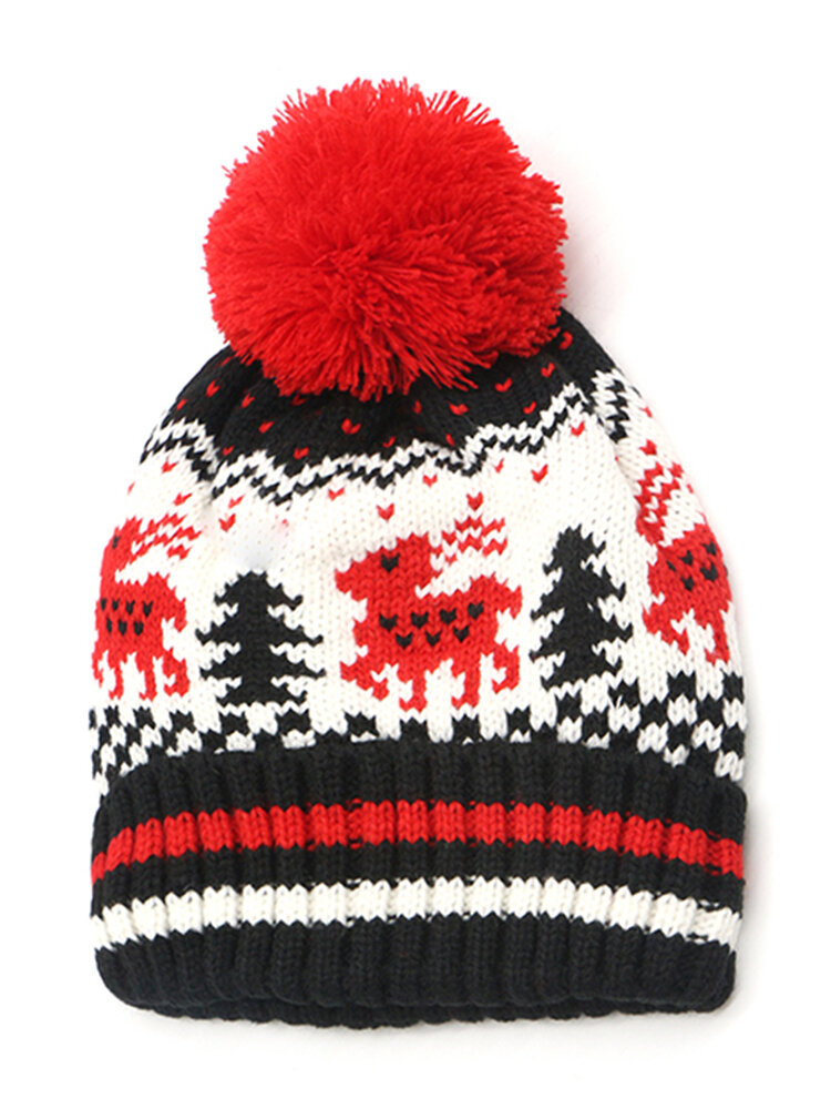 Women Winter Thicken Knitted Deer Beanie Hat With Pom Pom Casual Warm HIgh Elastic Hat Christmas Gif