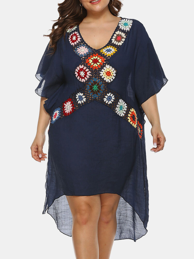 Embroidery Crochet Hollow Out Plus Size Beaches Holiday Blouse Dress