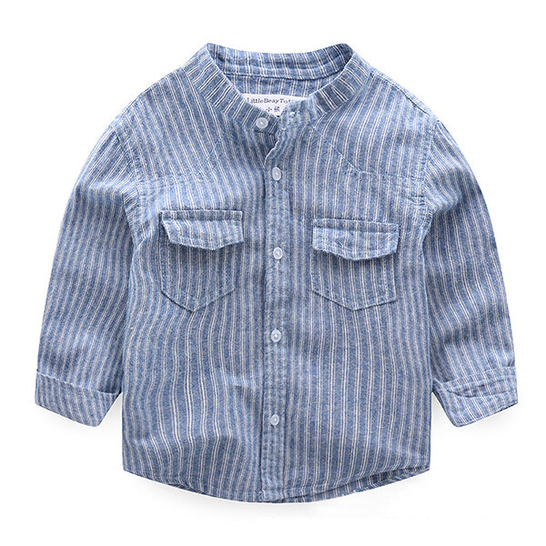 Spring Boys Striped Shirt Children Cotton Long Sleeve Blouse Clothes For 2Y-11Y