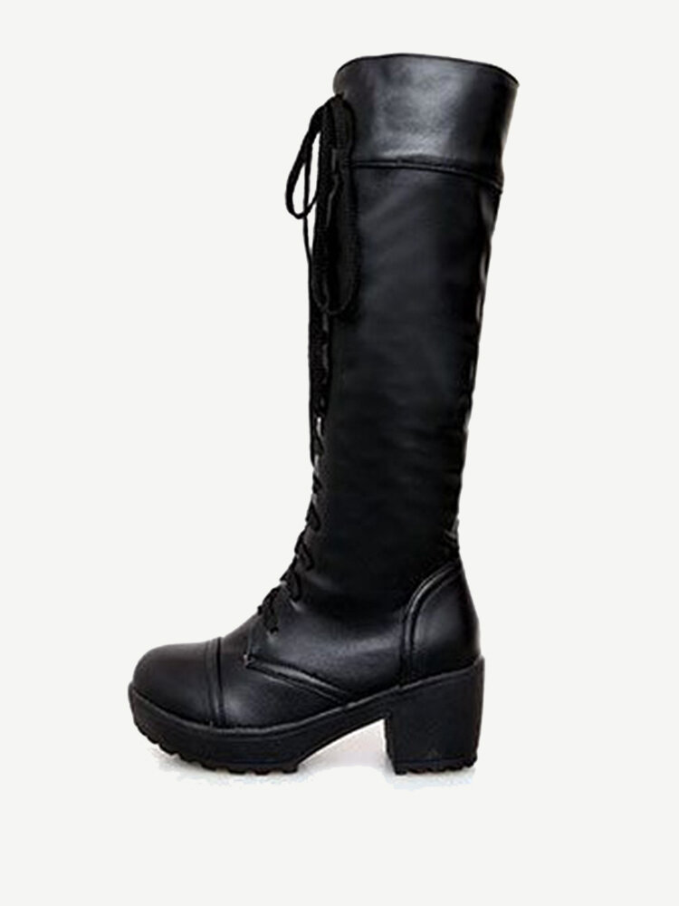 Knee High Pure Color Lace Up Square Heel Boots