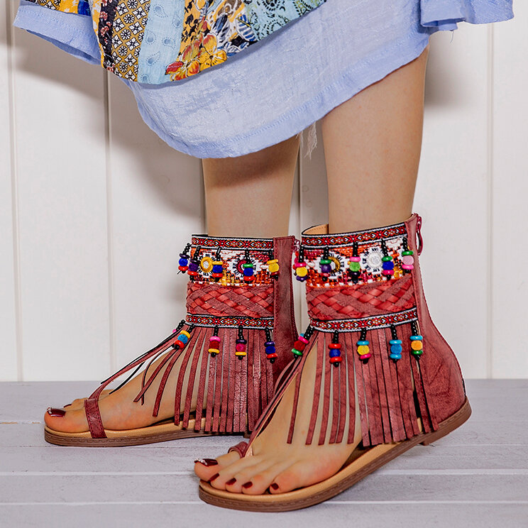 LOSTISY Embroidered Clip Toe Back Zipper Gladiator Sandals For Women