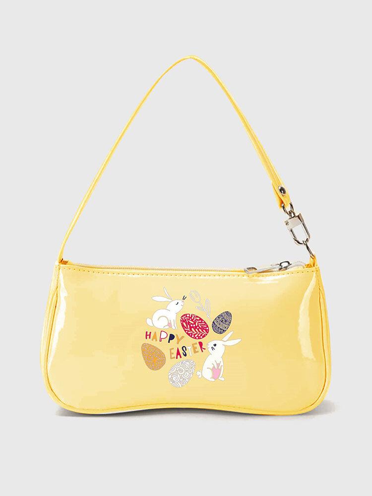 Mujer Amarillo PU Cuero Feliz Pascua Lindo Hombro Bolsa Bolso Hobo Bolsa