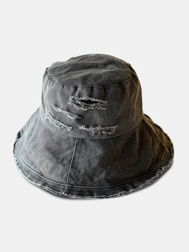 Unisex Washed Cotton Solid Color Raw Edges Broken Hole All-match Sunscreen Bucket Hat