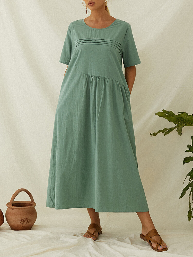 Pleated Short Sleeve Plus Size Casual Dress