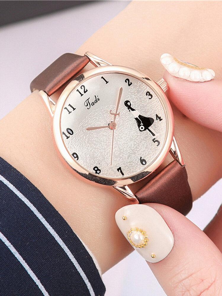Fashion Elegant Wild Women Watches Leather Band Sea Character Pattern Dial Design Quartz Watch