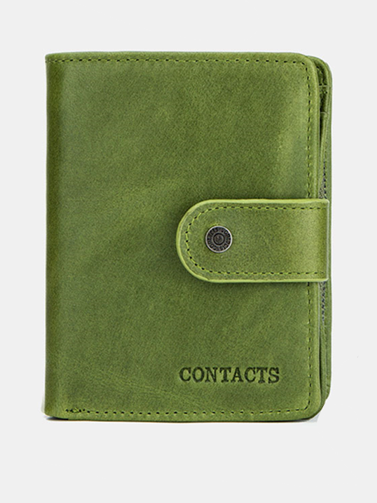 Women Genuine Leather RFID Multi-function Multi Card Slots Casual Solid Color Brief Card Holder Wallet