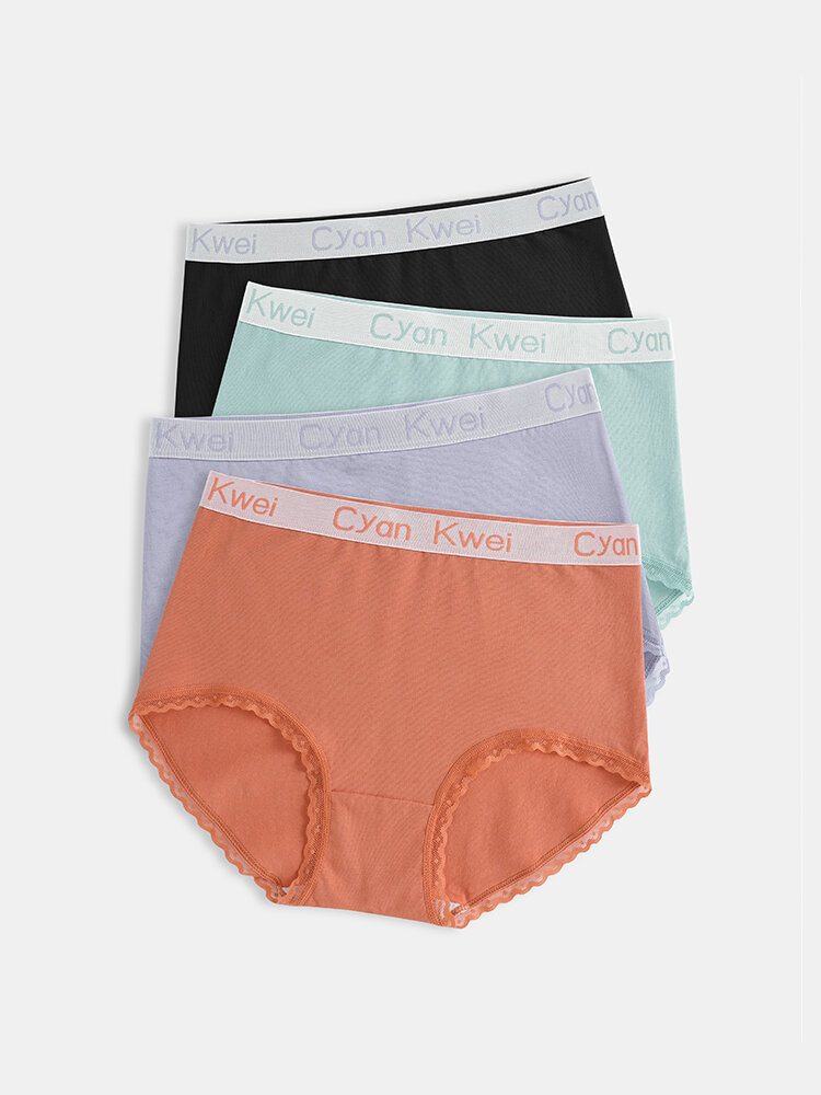 Plus Size Women Cotton Breathable Antibacterial High Waist Panties With Logo Waistband