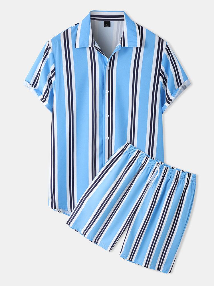 メンズストライプラペル半袖巾着ブルーツーピースブルーの衣装