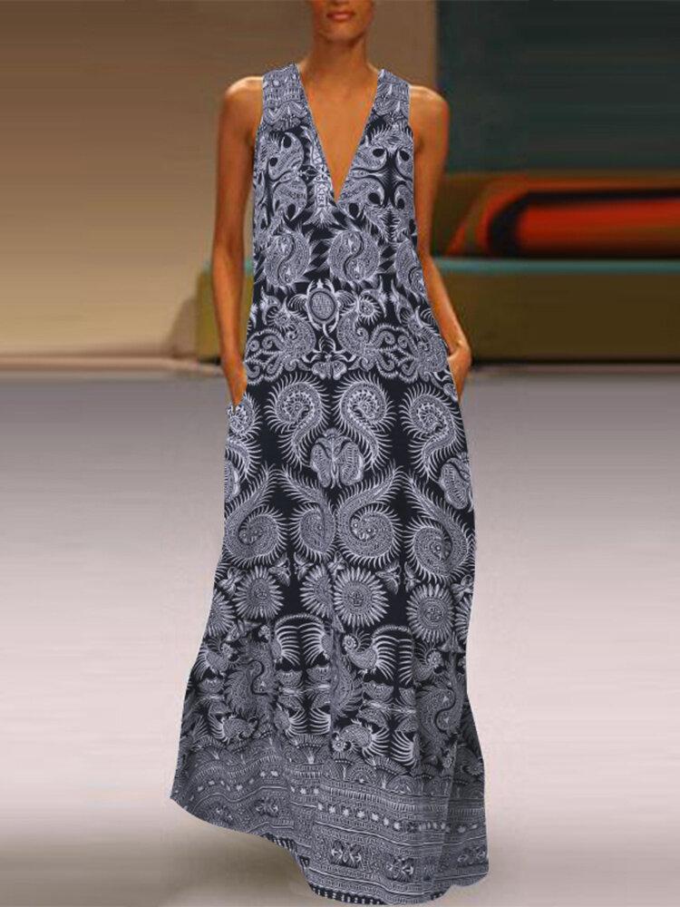 فستان طويل بدون أكمام بطبعة عرقية بجيوب Plus