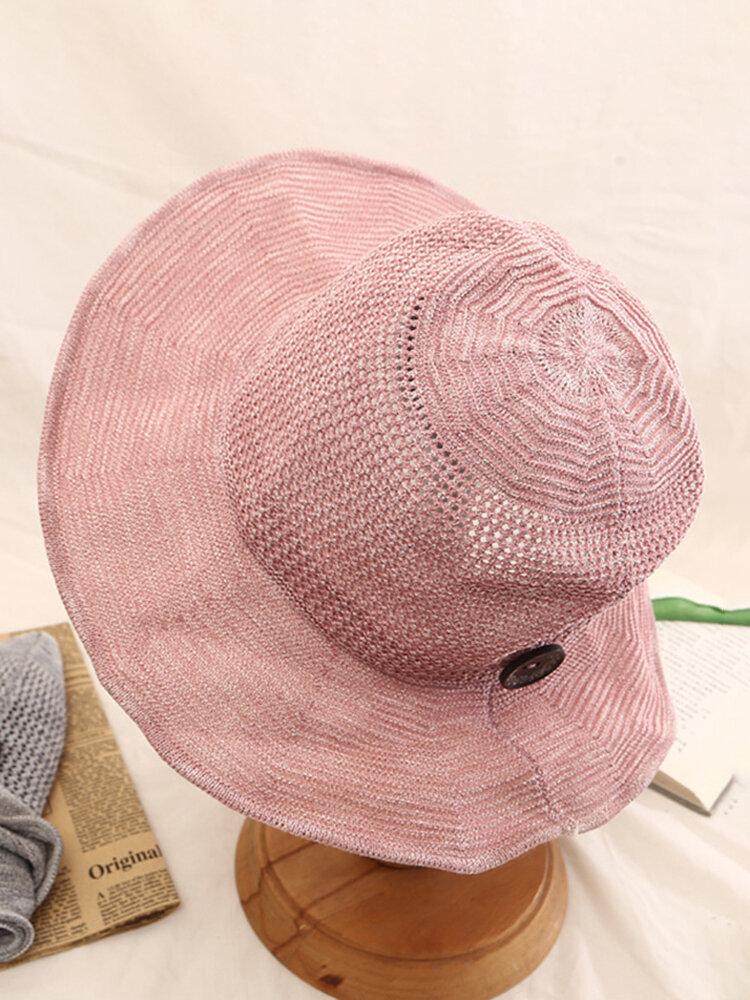 Women's Foldable Cotton And Linen Sun Beach Basin Hat Outdoor Summer Travel Straw Hat