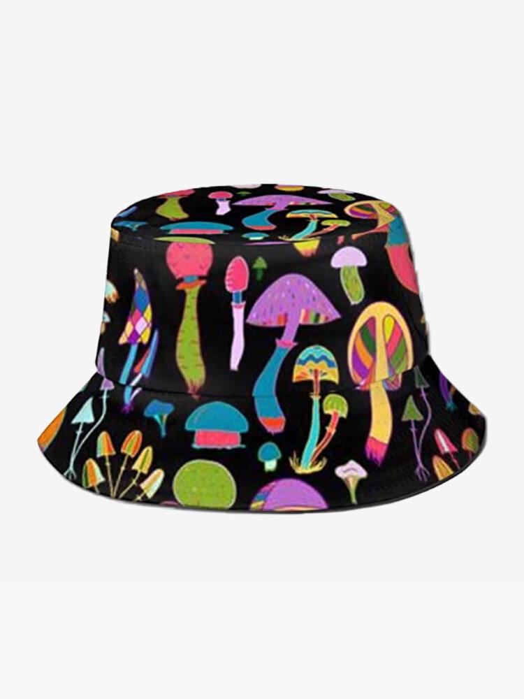 Collrown Women & Men Colorful Mushroom Pattern Print Casual Soft Outdoor Travel Bucket Hat