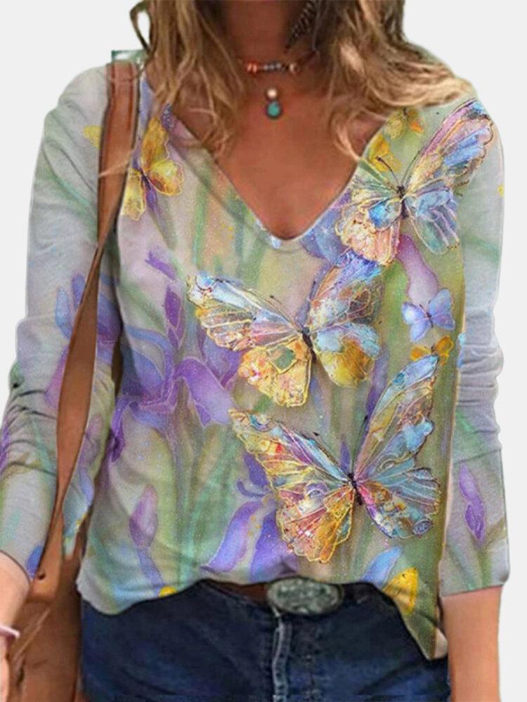 Borboletas multicoloridas com estampa de flores vintage de manga comprida blusa feminina