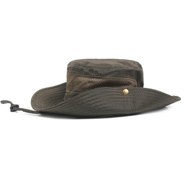 Mens Hunting Fisherman Hat Outdoor Military Wide Brim Caps Bucket Sun Hats