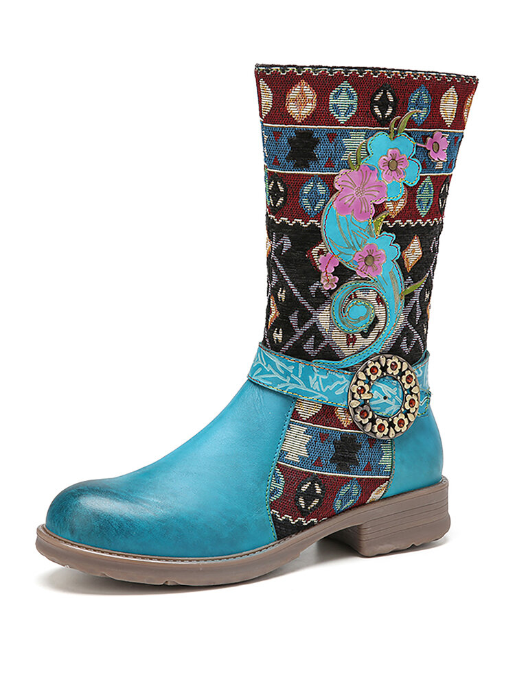 SOCOFY Natural Tribal Pattern Cloth Cowhide Leather Splicing Warm Block Heel Mid-calf Boots
