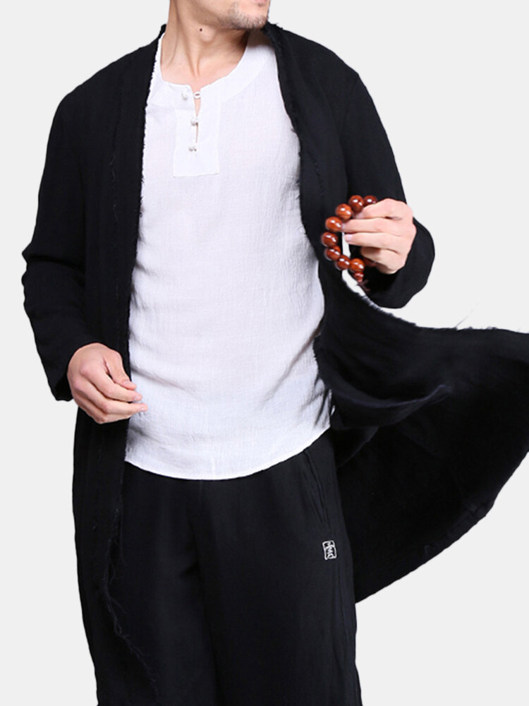 Mens Chinese Style Mid-long Thin Trench Coats Spring Fall Cotton Linen Solid Color Cardigans