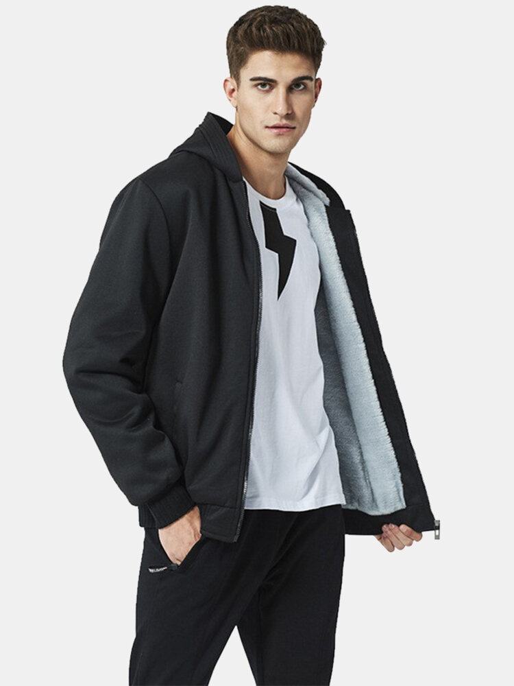 Mens Winter Thicken Solid Zipper Front Casual Relaxed Fit Hooded Jackets