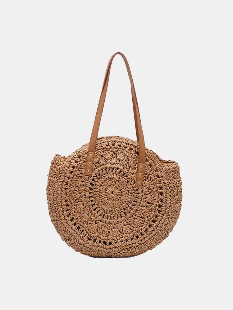 Women Summer Beach Large Capacity Straw Woven Handbag Tote