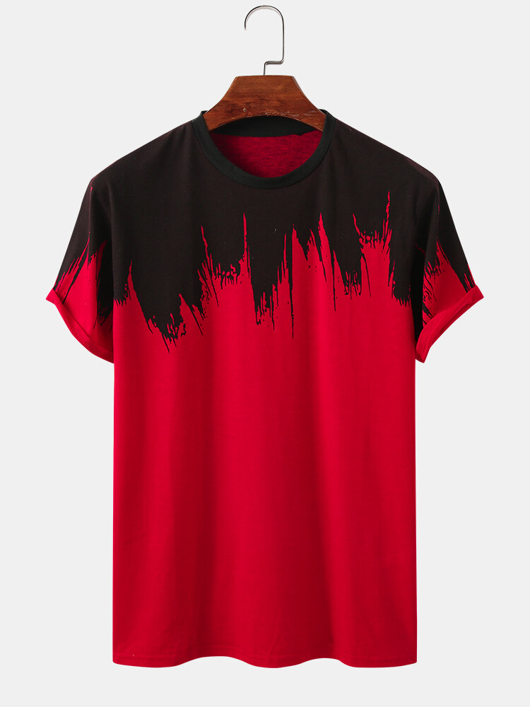 Mens Tie Dye Print Casual Breathable Loose O-Neck T-Shirts