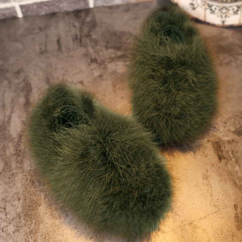 Furry Flat Lazy Casual Shoes For Women