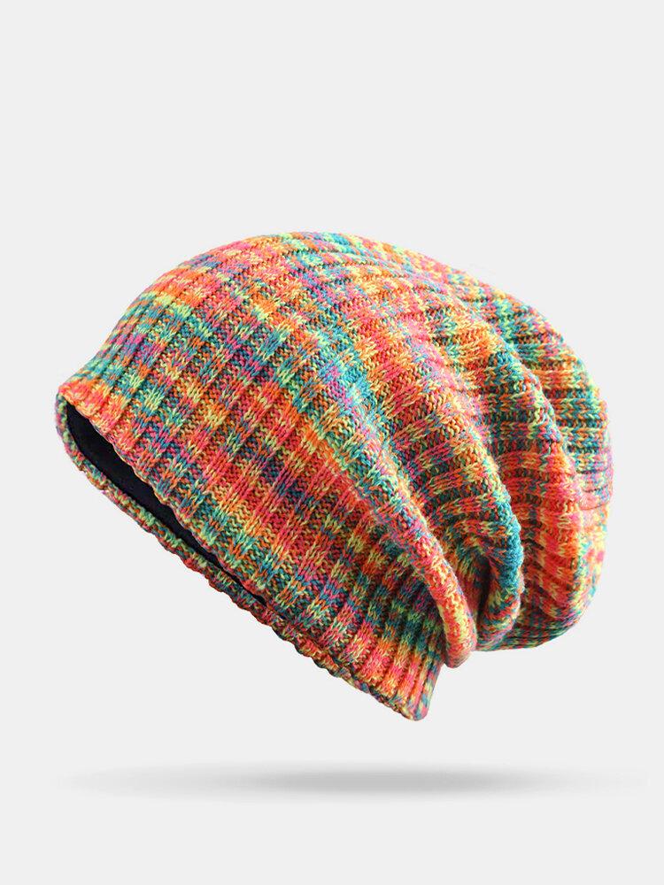 Strisce di colore arcobaleno misto lana donna Modello Plus Cappello lavorato a maglia con berretto in velluto spesso caldo