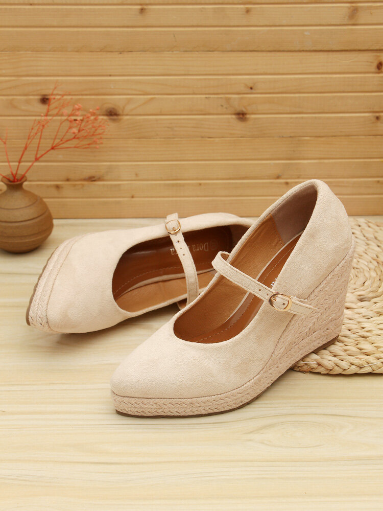 Women Pointed Toe Suede Solid Color Buckle Strap Single Wedges Shoes