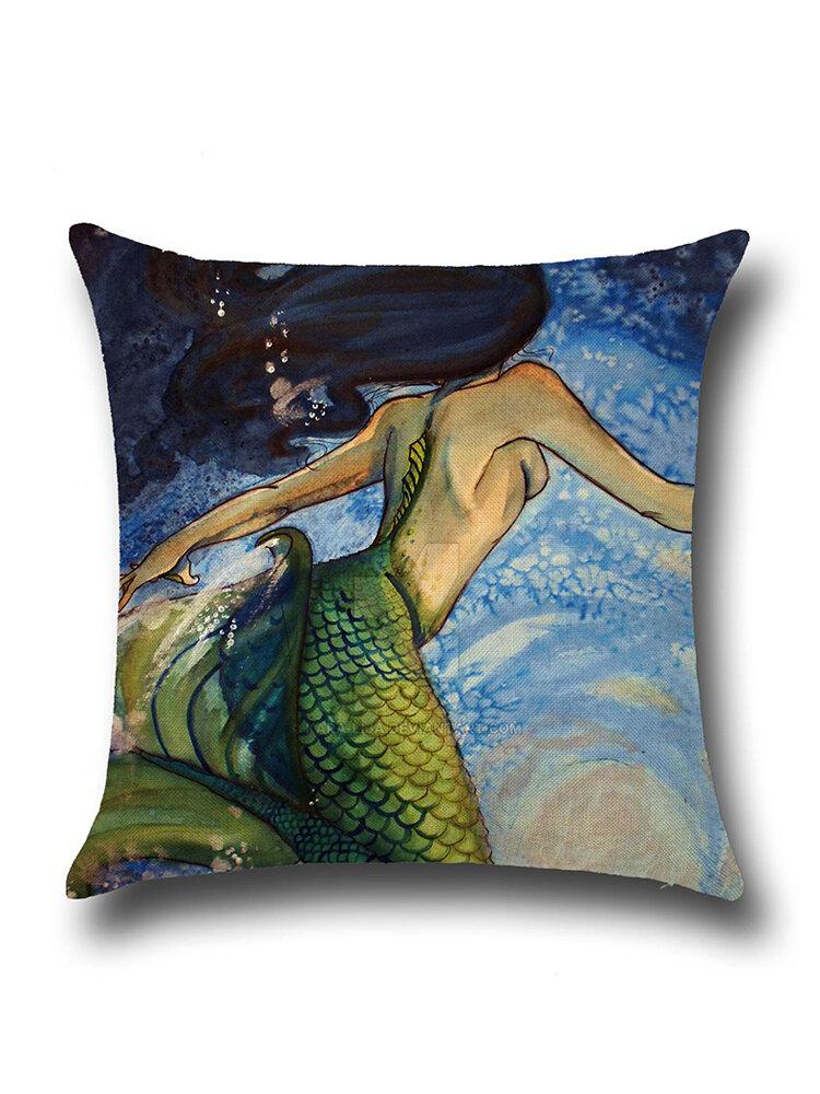 Mermaid Style Linen Pillow Case Home Fabric Sofa Mediterranean Cushion Cover