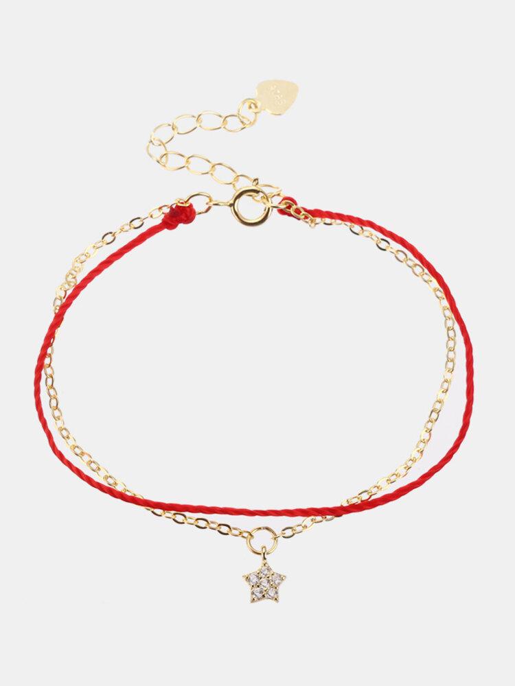 Luxury 925 Sterling Silver Red Rope Lucky Charm Bracelets Zircon Stars Chain Bracelets for Women