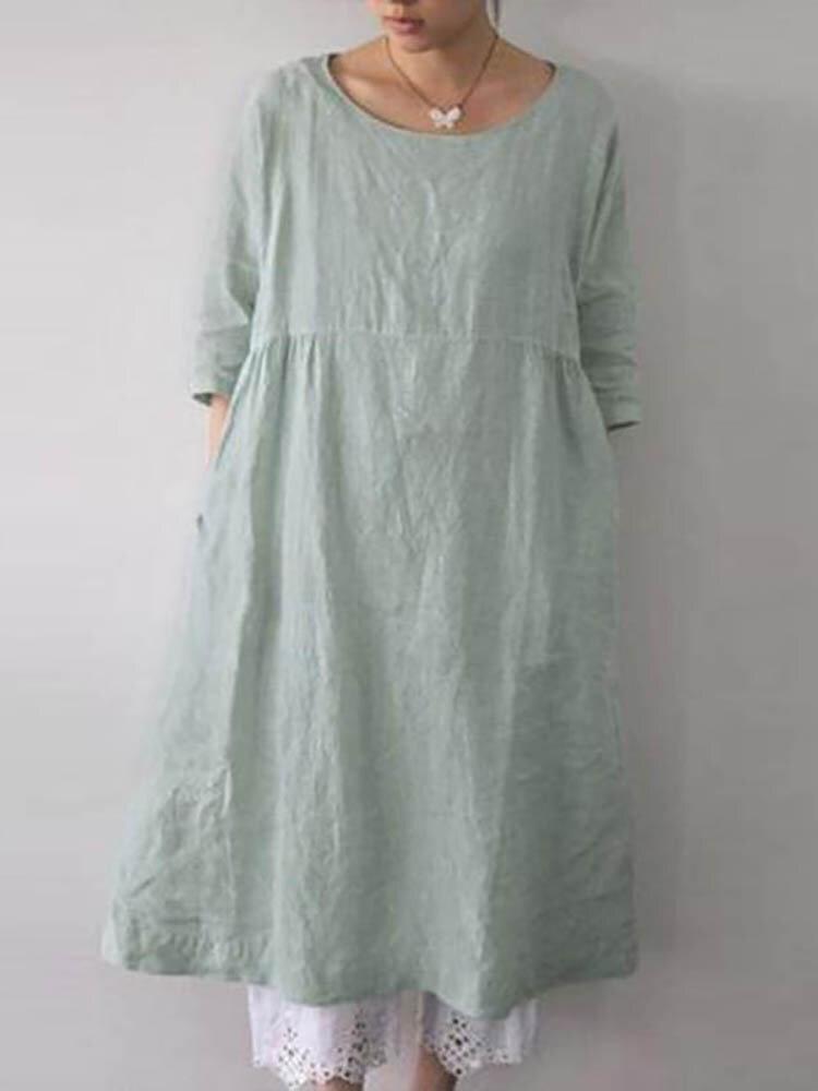 ポケット付きソリッドカラー3/4スリーブルーズコットンプラスサイズドレス