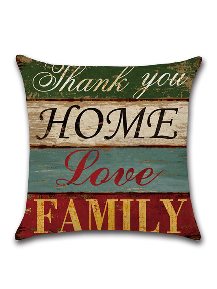 Vintage Mediterranean Hand-Painted Letters Cushion Cover Linen Throw Pillow Car Home Decoration Decorative Pillowcase