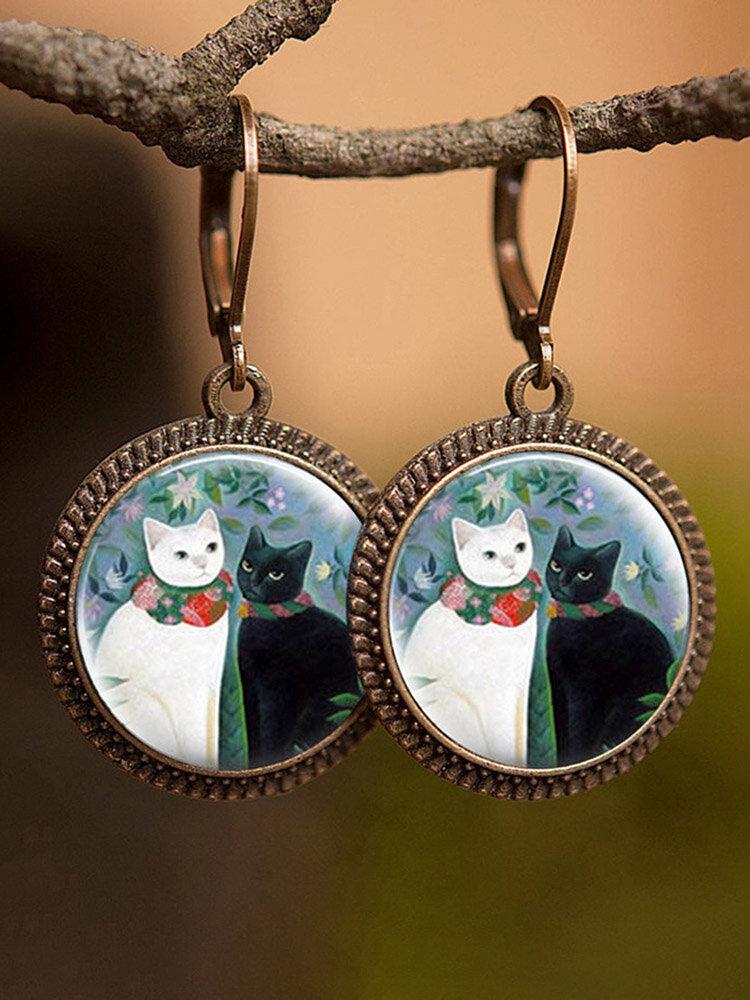 Vintage Animal Printed Women Earrings Cat Dog Glass Pendant Earrings