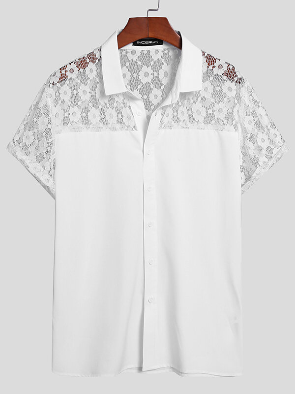 Plus Size Mens Floral Lace Stitching Casual Short Sleeve Shirts