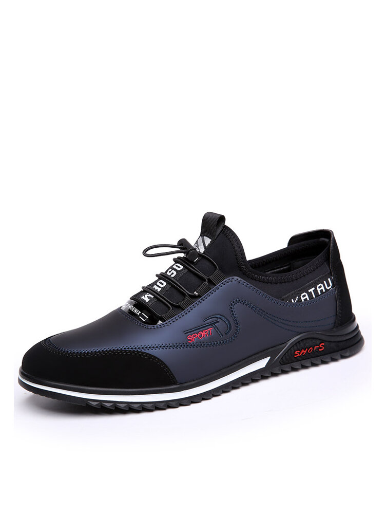 Men Lace-up Round Toe Hard Wearing Non Slip Casual Shoes