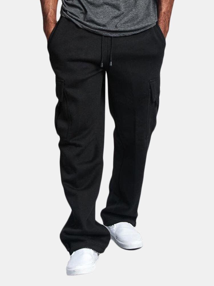 Men's Loose Straight Side Pockets Cargo Sweatpants Drawstring Waist Pants