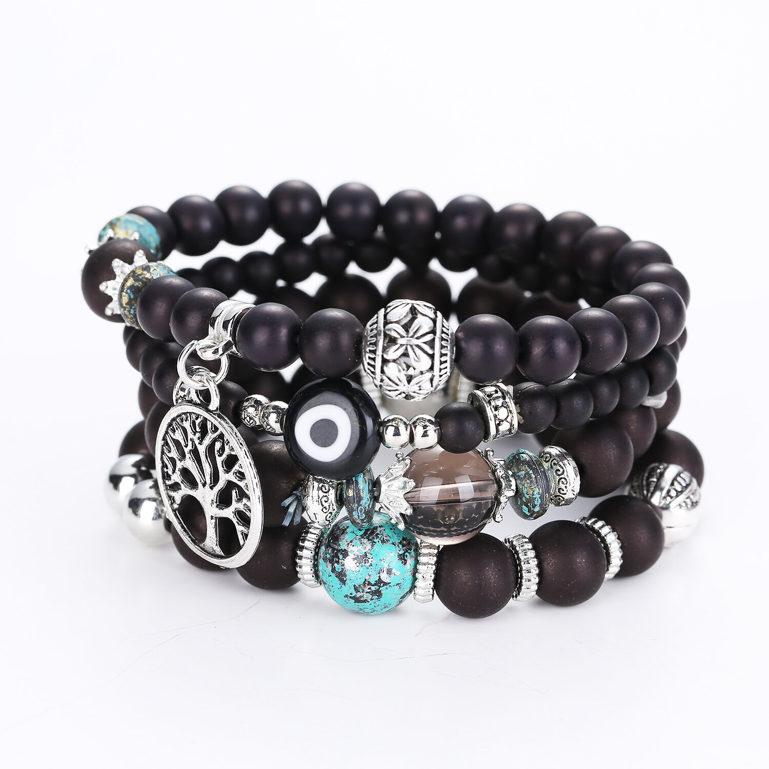 Bohemian Hollow Tree of Life Elastic Beads Multilayer Bangle Bracelets Gift for Women
