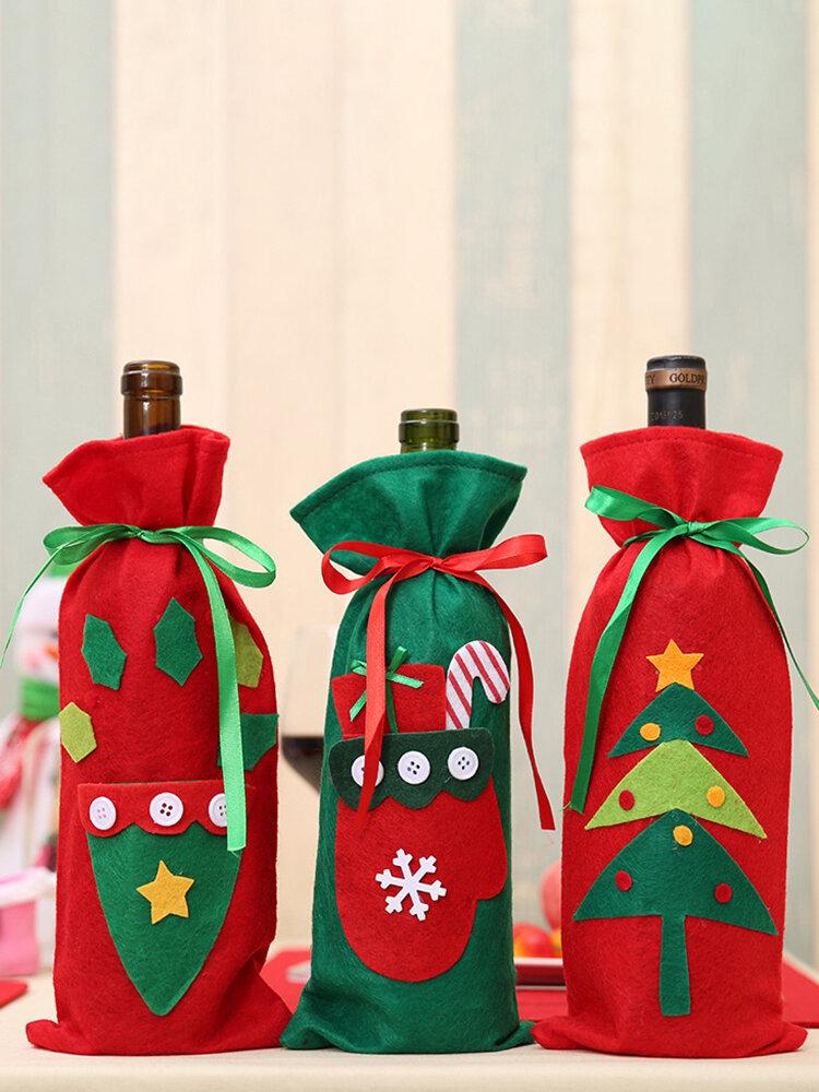 1 قطعة حقيبة زجاجة نبيذ عيد الميلاد قبعة عيد الميلاد شجرة عيد الميلاد السنة الجديدة هدية حقيبة عشاء ديكور