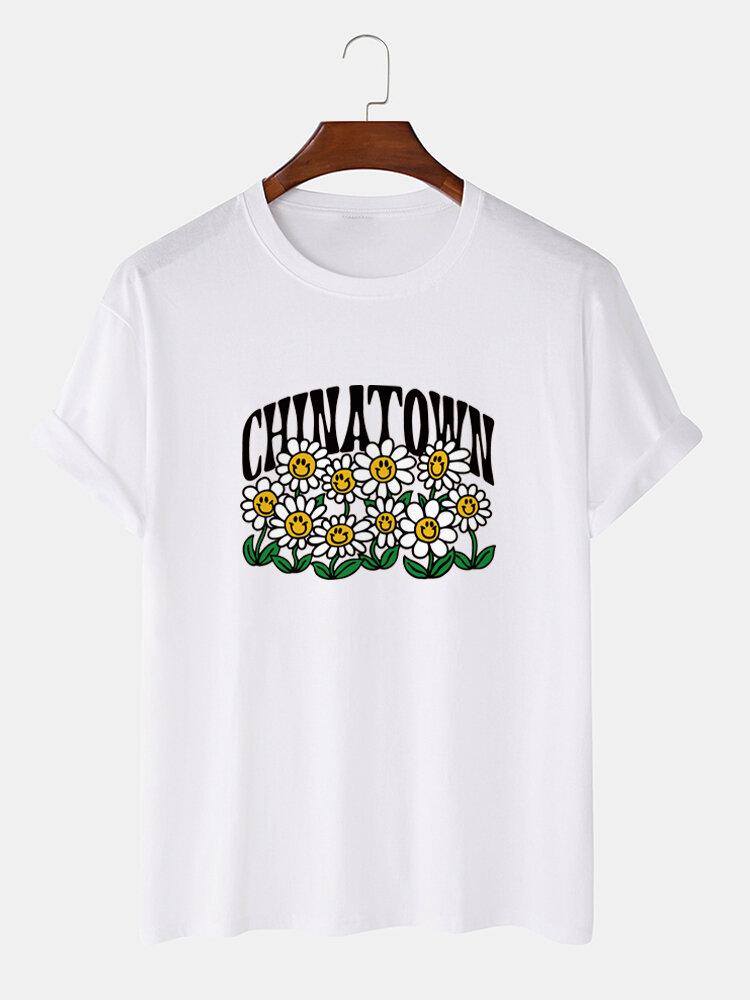 Mens Smile Flower Letter Printed 100% Cotton Short Sleeve T-Shirts