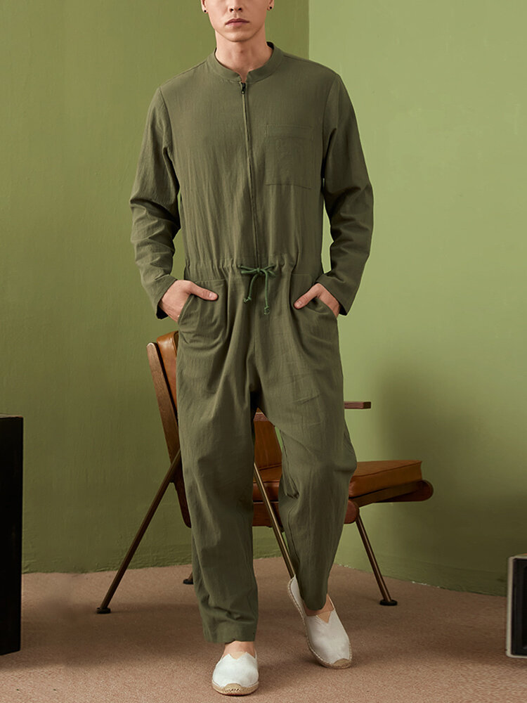 Mens Solid Zip Front Drawstring Waist Cotton Jumpsuit Onesies With Pocket